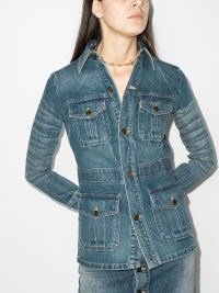 Saint Laurent fitted buttoned denim jacket ~ vintage inspired fitted shirt style jackets ~ womens casual fashion