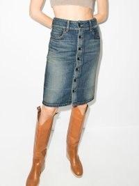 Saint Laurent high-waist button-up denim skirt ~ above the knee vintage style skirts