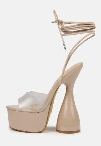 MISSGUIDED sand platform tie up heeled sandals ~ chunky party platforms ~ ankle wrap going out high heels