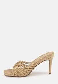 MISSGUIDED sand rope sole knotted heel sandals / strappy knot detail mules