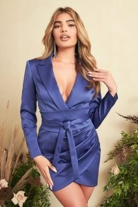 lavish alice satin obi belted mini blazer dress in navy   blue luxe style plunge front evening dresses   jacket inspired party fashion