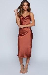 BEGINNING BOUTIQUE Schiffer Slip Midi Dress Rust ~ brown-tone satin style cami dresses ~ glamorous evening fashion