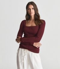 Reiss SEREN SQUARE NECK JERSEY TOP BURGUNDY / deep rich red long sleeve tops / autumn fashion colours