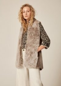 Me and Em Shearling Longline Gilet in Honey ~ long luxe fluffy gilets ~ womens sleeveless winter jackets
