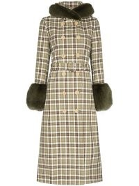 Shrimps Jessie checked hooded coat in avocado green / brown / white ~ chic check print faux fur trim winter coats