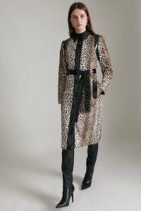KAREN MILLEN Signature Printed Ponyskin & Vinyl Coat / glamorous faux animal tie waist belted winter coats
