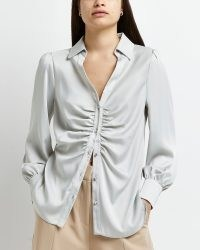 River Island Silver ruched front shirt – luxe style gathered detail shirts