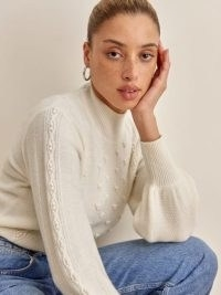 Reformation CREAM CABLE KNIT JUMPER in Atctic | luxe style textured jumpers | feminine look knitwear