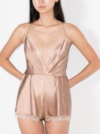 Sleeping with Jacques Alexa lace-trimmed playsuit in dusty rose ~ womens luxe all-in-one sleepwear ~ skinny strap silk playsuits ~ womens plunge front nightwear