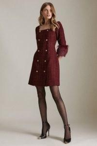 KAREN MILLEN Sparkle Tweed And Faux Fur Cuff Db Mini Dress / glamorous textured square neck dresses / merlot-red autumn and winter fashion