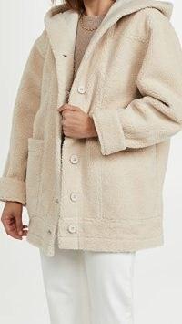 Splendid Grayson Sherpa Mix Jacket in Porcelain / hooded faux shearling fur jackets / womens textured outerwear