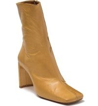 MIISTA Square Toe Leather Boot in Beige – slim block heel boots