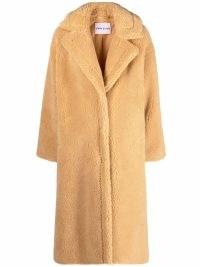 STAND STUDIO midi faux-fur coat in Honey ~ women's textured winter coats ~ womens glamorous outerwear
