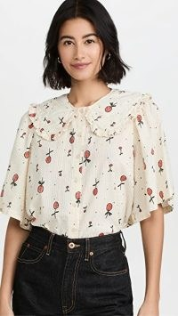 Stella Nova Sassi Top in Creme Cherries / feminine oversized collar cherry print tops / fruit prints