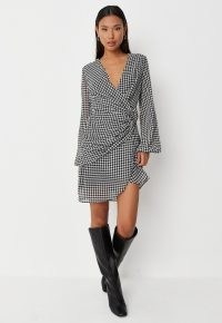 MISSGUIDED tall black long sleeve houndstooth v neck ring detail dress / dogtooth check wrap style dresses / checked asymmetric fashion