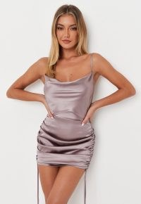 MISSGUIDED tall lilac satin cowl neck ruched mini dress – strappy going out dresses