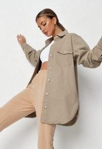 MISSGUIDED tall sage oversized denim shirt ~ womens curved hem overshirts