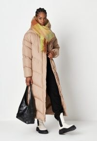 MISSGUIDED tall toffee chevron long line puffer coat ~ light brown on trend padded coats ~ womens fashionable longline winter outerwear