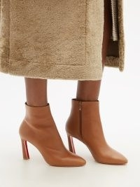 CHRISTIAN LOUBOUTIN Eleonor 85 tan leather ankle boots ~ light brown pointed toe boots ~ womens chic winter footwear