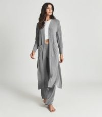 REISS TESS LONGLINE JERSEY CARDIGAN GREY / long split hem cardigans / chic loungewear