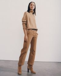 NILI LOTAN TOMBOY PANT WITH CUFF in FAWN ~ womens light brown relaxed fit trousers ~ effortless style casual fashion