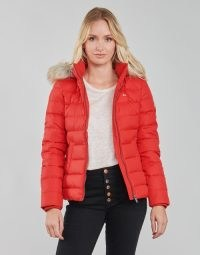 TOMMY JEANS TJW BASIC HOODED DOWN JACKET in Red ~ womens padded faux fur hood lined winter jackets ~ spartoo women's outerwear