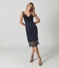 REISS TORI LACE TRIMMED SATIN MIDI DRESS NAVY ~ glamorous dark blue slip dresses ~ party glamour ~ evening occasion fashion