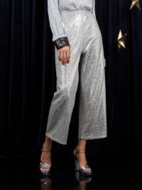 sister jane WRITTEN IN THE STARS Equinox Sequin Culottes Silver / shimmering sequinned cropped trousers