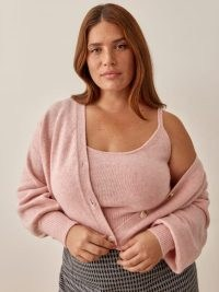 REFORMATION Varenne Cashmere Tank And Cardi Set Es in Blush ~ pink knitted strappy top and cardigan sets ~ knitwear fashion co-ords