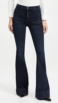Veronica Beard Jean Sheridan Bell Bottoms in Dark Ink ~ womens blue denim flared jeans ~ vintage style flares