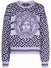 Versace La Greca Medusa purple knitted jumper | womens designer crew neck patterned jumpers
