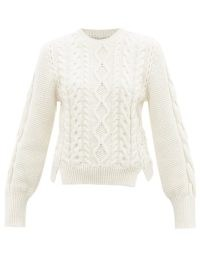STELLA MCCARTNEY Aran cable-knit cotton-blend sweater | womens chunky crew neck split hem jumpers | women's designer knitwear