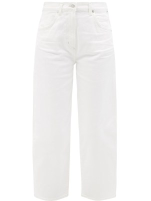 CITIZENS OF HUMANITY Calista white cropped barrel-leg jeans | womens casual denim fashion - flipped