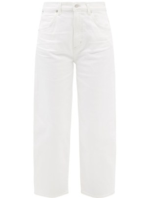 CITIZENS OF HUMANITY Calista white cropped barrel-leg jeans | womens casual denim fashion