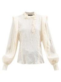 ISABEL MARANT Chandra ivory ruffled crinkled-silk blouse – vintage inspired ruffle detail balloon sleeve blouses