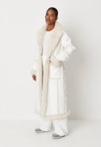 MISSGUIDED white faux leather maxi aviator coat ~ luxe style faux fur longline coats ~ women's vintage style winter outerwear ~ womens retro fashion