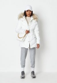MISSGUIDED white gold trim belted faux fur hooded puffer jacket ~ padded luxe style winter jackets