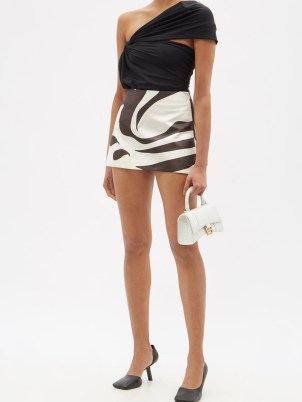 MAXIMILIAN High-rise printed silk-satin mini skirt   high octane evening glamour   glamorous going out skirts