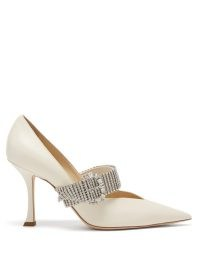 JIMMY CHOO Kari 90 crystal-strap white-leather pumps / pointed toe court shoes embellished with crystals / luxe courts