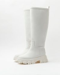 RIVER ISLAND WHITE KNEE HIGH RUBBER CHUNKY BOOTS ~ womens casual on-trend winter footwear