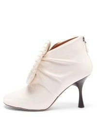 LOEWE Pleated-buckle white-leather ankle boots ~ luxe statement booties