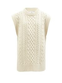 MR MITTENS Side-slit cable-knit cream wool sleeveless sweater ~ womens longline knitted vests