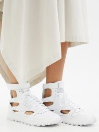 MAISON MARGIELA Tabi Classic split-toe leather high-top trainers – white cut out sneakers