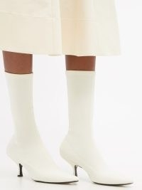 KHAITE Taylor point-toe white neoprene boots ~ stretchy pull on calf length boots