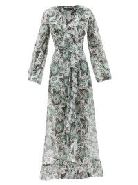 THE VAMPIRE'S WIFE The Devastator poppy-print cotton maxi dress ~ white and green floral occasion dresses ~ romantic ruffle trim event fashion ~ ruffled evening wear
