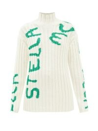 STELLA MCCARTNEY X Ed Curtis logo-intarsia wool-blend sweater in white / womens ribbed nit high neck sweaters / women's designer jumpers