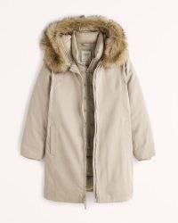 ABERCROMBIE & FITCH A&F Tech Parka ~ womens brown-tone faux fur hood parkas ~ women's on-trend winter coats
