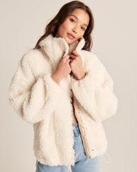 ABERCROMBIE & FITCH Cinched Sherpa Full-Zip Sweatshirt – women's textured zip front jackets – womens faux shearling outerwear
