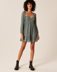 Abercrombie & Fitch Corset Babydoll Mini Dress ~ green long sleeve tiered hem dresses ~ sweetheart neckline fashion