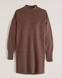 ABERCROMBIE & FITCH Everyday Mockneck Mini Sweater Dress ~ brown soft knit dresses ~ on-trend knitted fashion ~ fashionable winter knitwear